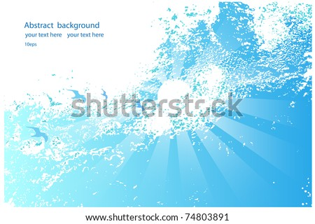 Abstract background of blue sky with  birds and the sun - stock vector