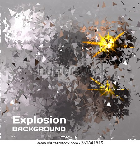 Abstract background of exploding balls polygonal - stock vector