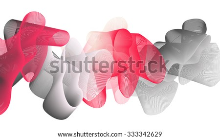 Abstract  background of flounced ribbons of red and gray shades. EPS 10 vector background isolated on white. - stock vector