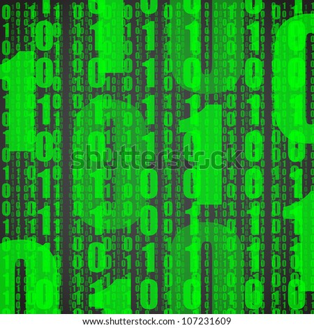 Abstract background of green digits on black - stock vector