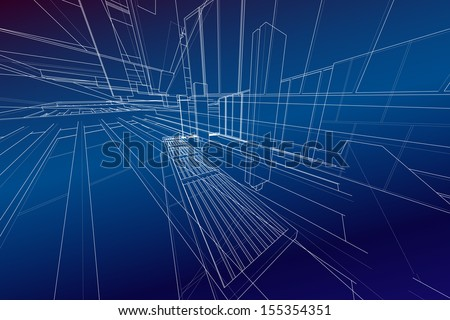 Abstract background of matrix wireframe space - Vector illustration - stock vector
