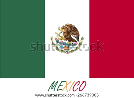 Abstract background of Mexico flag, a conceptual design of the Mexican flag with its name colored with the flag colors - stock vector