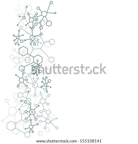 abstract background of molecular structure over white