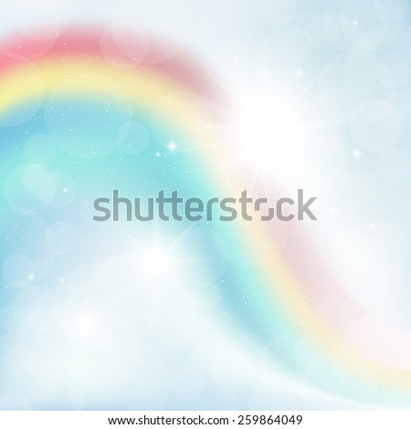 abstract background of rays on a blue sky with a rainbow - stock vector