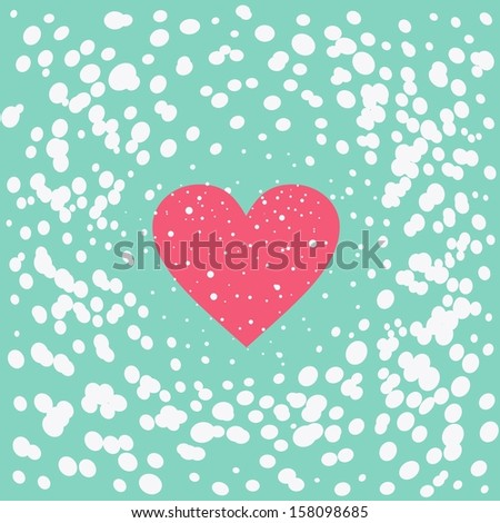 Abstract background of snow with heart in vector - stock vector