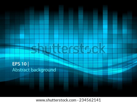 abstract background of squares and lines in shades of blue - stock vector