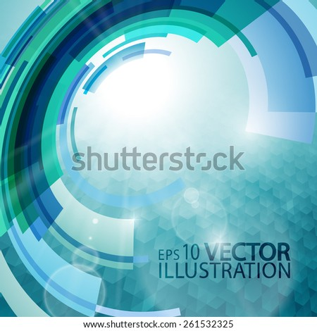 Abstract background of  techno circles in blue shades - stock vector
