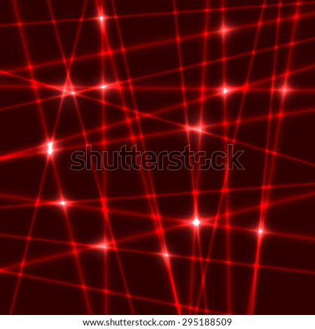 Abstract background of the red laser rays.Laser show with flashes of light and lighting effects. Light laser beams - stock vector