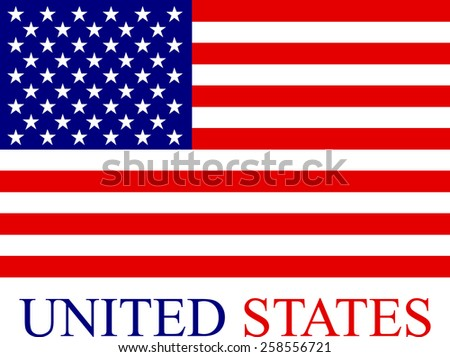 Abstract background of USA flag, a conceptual design of the flag of United States of America with its name colored with the flag colors, blue and red - stock vector