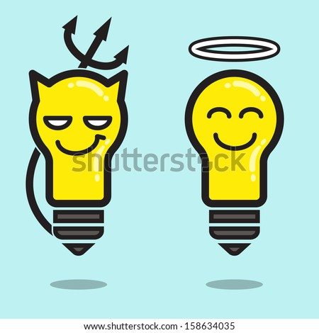 Abstract background on bad and good thinking, or representing to angel or devil light bulb. Thinking or idea concept. Vector illustration.  - stock vector