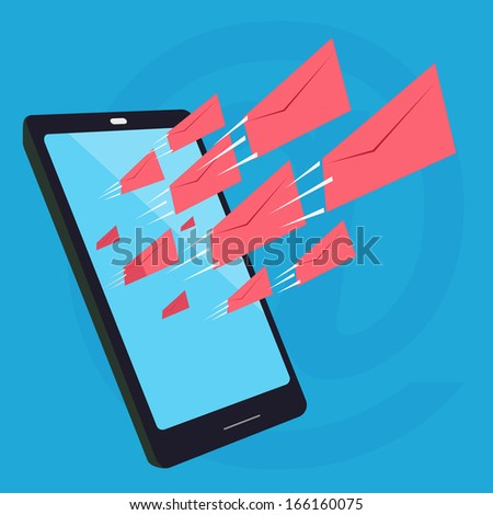 Abstract background on flowing of information and communication via technology such as e-mail from social network, representing with envelops flowing out from the screen of smart phone. - stock vector