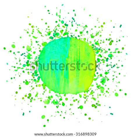 Abstract background or banner. Colorful watercolor isolated design element. Vector illustration. Easy editable template.  Bright acid green and  blue colors. - stock vector