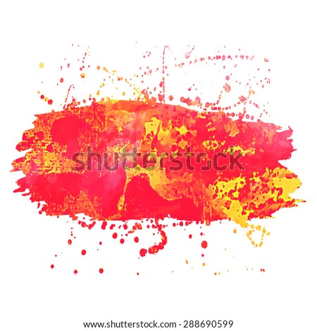 Abstract background or banner. Colorful watercolor isolated design elements. Vector illustration. Easy editable template.  Bright acid red and yellow colors. - stock vector