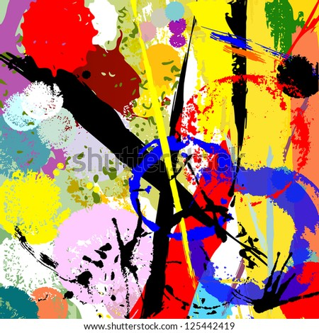 abstract background, paint strokes, splashes and marks