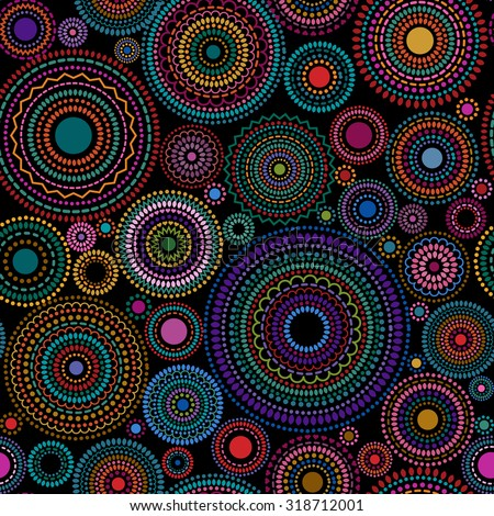 Abstract background pattern of multicolored circles and dots, vector illustration - stock vector