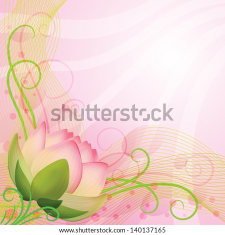 Abstract background  pink lotus flower, vector