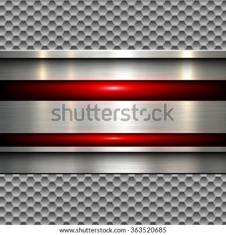 Abstract background, polished metal texture over seamless hexagons pattern, vector illustration. - stock vector