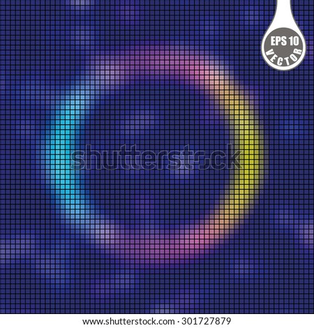 Abstract background. Ring rainbow on a dark blue background. Disco lights. Blur effect. Vector illustration. - stock vector