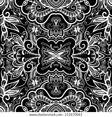 Abstract background, seamless texture, retro floral and geometric ornament, lace pattern, tribal ethnic decoration, hand drawn artwork black and white - stock vector