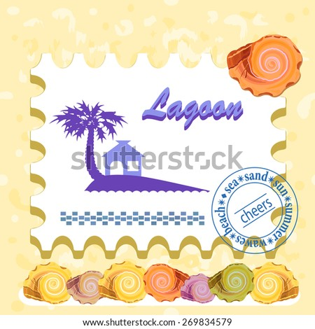 Abstract background. Seashells and a postage stamp. Frame for your text. Vector. - stock vector