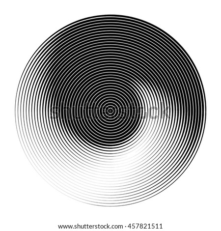 Abstract background set with concentric rotating circles - stock vector