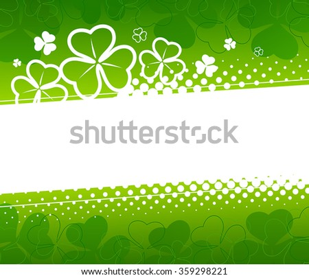 Abstract background St. Patricks Day with silhouettes of clover - stock vector
