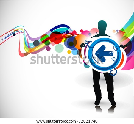 Abstract background, standing a young boy showing a right direction. Vector illustration. - stock vector