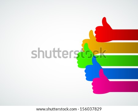abstract background thumbs up - stock vector