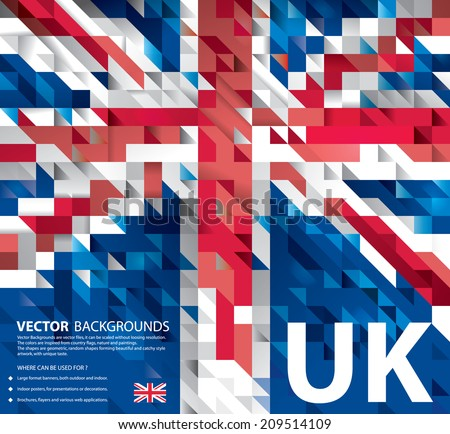 Abstract Background UK Flag, United Kingdom Polygon art (Vector Art) - stock vector