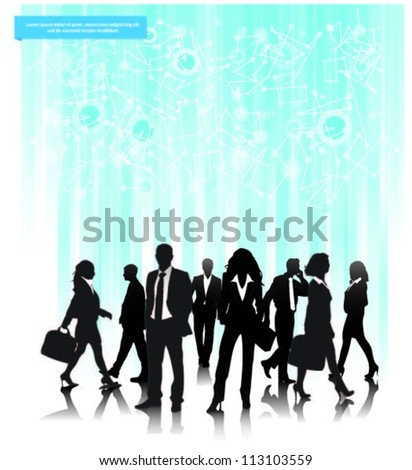 Abstract background vector with business people team