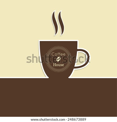 Abstract background with a cup of coffee. Coffee house. for menu, restaurant, cafe, bar, coffeehouse.  Outline - stock vector