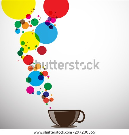 Abstract background with a cup of coffee. for menu, restaurant, cafe, bar, coffeehouse. Outline color full - stock vector