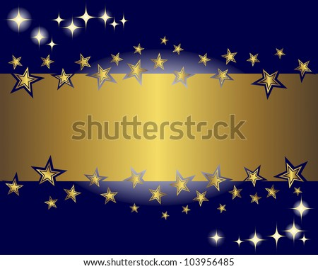 Abstract background with a gold banner and stars. Vector illustration. - stock vector
