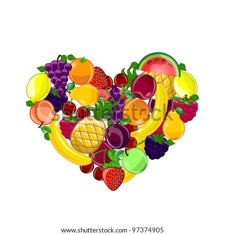 Abstract background with a heart-shaped fruits, vector - stock vector