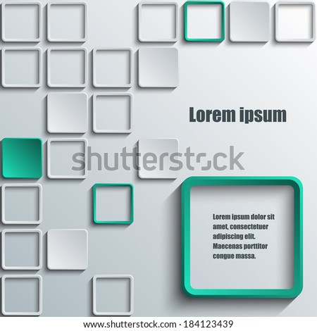 Abstract  background with a large white and small green squares. Eps10