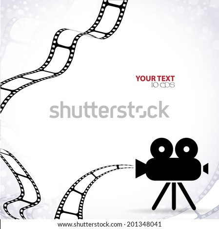 abstract background with a movie camera and film into - stock vector
