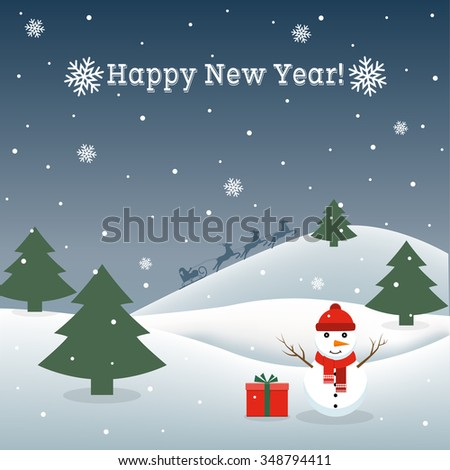 Abstract background with a snowman and Santa. Can be used greeting card, greetings, advertisement, template, poster in web design and printing. New Year, Christmas. Vector illustration. - stock vector