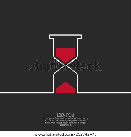 Abstract background with an hourglass from ribbon. Sand clock icon. Glass timer symbol. The concept of time is not forever - stock vector