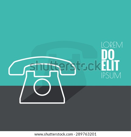 Abstract background with an old rotary telephone. Call technical support. Contacts. vector. Flat design with shadow. minimal, outline - stock vector