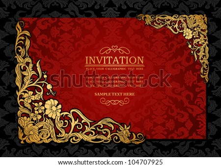 Abstract background with antique, luxury red and gold vintage frame, victorian banner, damask floral wallpaper ornament, invitation card, baroque style booklet, fashion pattern, template for design - stock vector