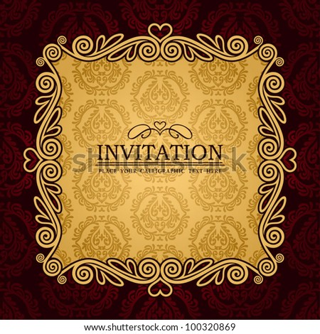 Abstract background with antique, vintage frame and banner, red damask wallpaper with ornamental, gold invitation card, baroque style label, fashion pattern, graphic ornaments for decoration, design - stock vector