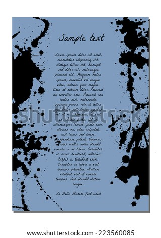 Abstract background with black blots and text. Template for presentation, poster or bunner.