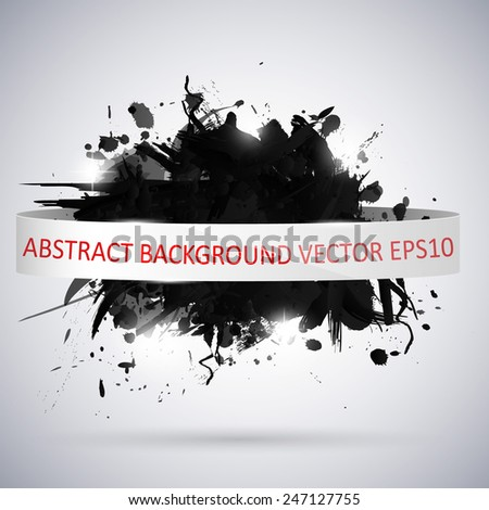 Abstract background with black paint splashes. Vector illustration. - stock vector