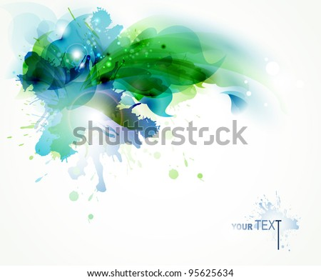 Abstract   background with blue and green blots - stock vector