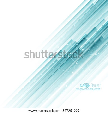 Abstract background with blue diagonal stripes. Concept new technology and dynamic motion. Report with information dots, circle - stock vector