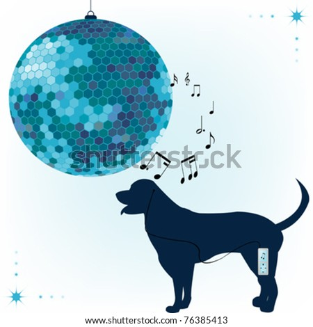 Abstract background with blue disco ball and dog - stock vector