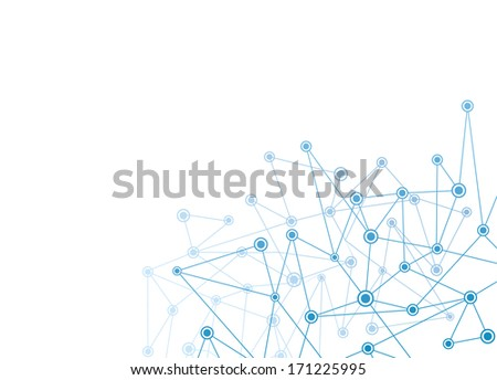 abstract background with blue dots and net vector - stock vector