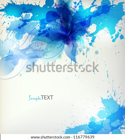 abstract background with blue flower and blots - stock vector