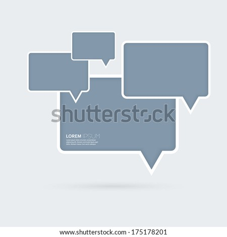 Abstract background with blue plastic rectangular boxes on a gray background. For the Internet, the Web site of comics, ads, alert dialog - stock vector