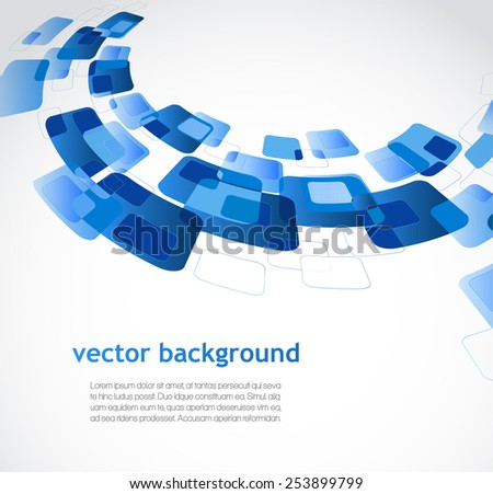 Abstract background with blue rectangles - stock vector